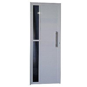 Porta Charme Branca 210x100 Abertura Direita, Vidro Incolor