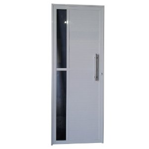 Porta Charme Branca 210x80 Abertura Direita, Vidro Fumê