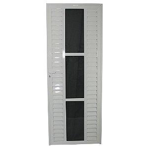 Porta Elegance Branca 210x80 Abertura Direita, Vidro Fumê