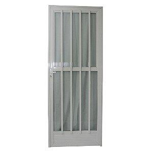 Porta Palito Branca 210x80 Abertura Direita, Vidro Fumê