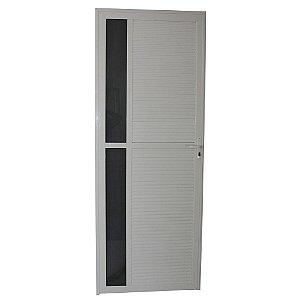 Porta Requinte Branca 210x80 Abertura Direita, Vidro Fumê