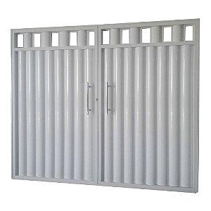 Portão de Garagem Búzios Grade Branco 200x240 Abe. Centro