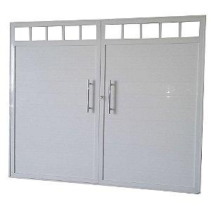Portão de Garagem Lambri Liso Branco  200x240 Abe. Centro