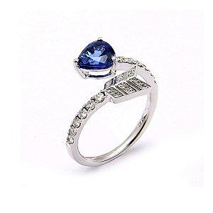 Anel de Ouro, Safira com Diamantes