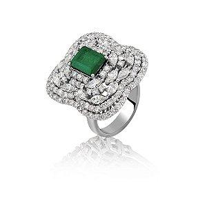 Anel de Ouro com Esmeraldas e Diamantes