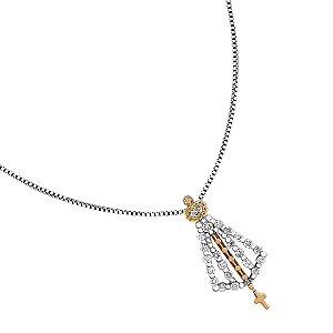 Colar Nossa Senhora Aparecida em Ouro com Diamantes