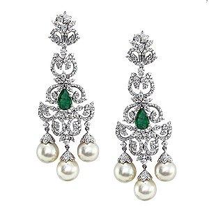 Brinco Esmeralda com Pérolas e Diamantes