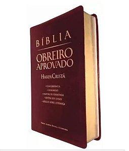 Bíblia Obreiro Aprovado com Harpa Cristã Média - Vinho