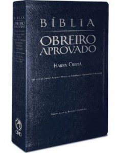 Bíblia Obreiro Aprovado com Harpa Cristã Média - Azul