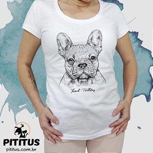 Camiseta Bulldog Francês Aquarela - feminina - Pititus f53623ff4328f