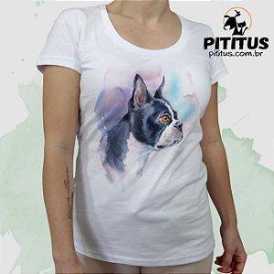 Camiseta Bulldog Francês Aquarela - feminina b1f6db3e1ad52