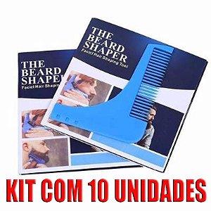 10 Pente Regua Kit Modeladora Molde Barba Bigode Aparador Atacado