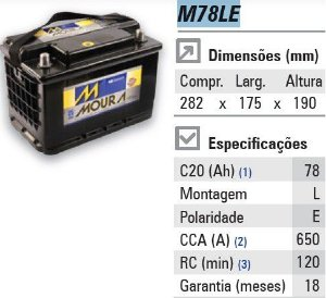 Bateria Moura 75ah