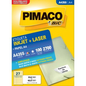 Etiqueta Pimaco A4355/100 Folhas - Inkjet+Laser