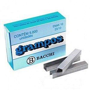 Grampo Prateado 23/10 de 50 a 100 folhas Bacchi c/ 5000