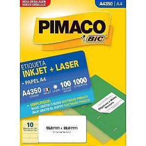 Etiqueta Pimaco A4350 55,8x99mm c/ 100fls 1000un