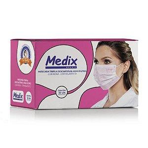 Máscara Tripla Descartável com Filtro (BFE ≥95%) Medix c/50 Rosa