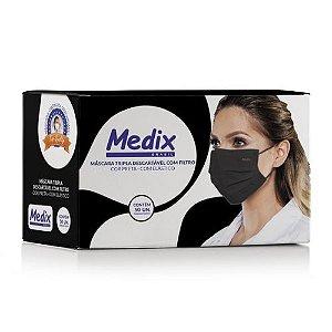 Máscara Tripla Descartável com Filtro (BFE ≥95%) Medix c/50 Preta