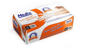 Luva Descartável Látex Medix Top Quality c/ Pó c/ 100 Tamanho:M CA:40590