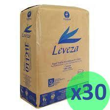 30 Pacotes de Papel Toalha Interfolhas Leveza 100% Celulose 20x21cm 1000 Folhas