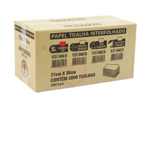 Papel Toalha Interfolhado 100% Celulose 21x20cm c/ 2000 Folhas Ref.:TI.212000.21