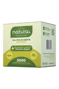 Palito Dental Embalado Bambu Natural c/ 2000