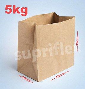Saco Papel Kraft Fundo Quadrado 5kg 18x35x10cm c/250