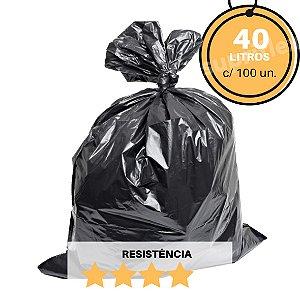 Saco para Lixo Preto 40L c/100