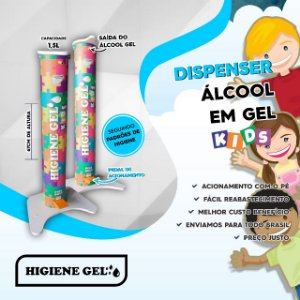 Totem para Álcool em Gel Higiene Gel c/ Pedal Infantil