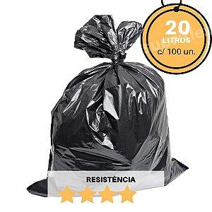 Saco de Lixo Preto 20L c/100un Reforçado