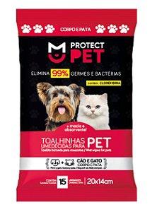 Toalha Umedecida Protect Pet Corpo e Patas Sachê 20x14cm c/15un