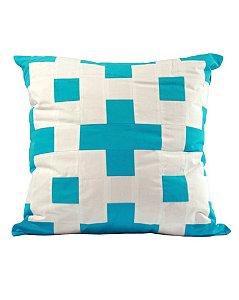 Almofada Quadros Patchwork Azul