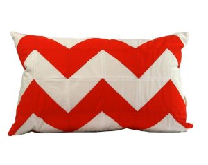 Almofada Orange Chevron Patchwork
