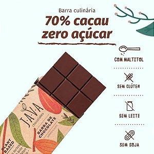 Barra de chocolate 70% DIET 1kg - ZERO açúcar, glúten, leite e soja