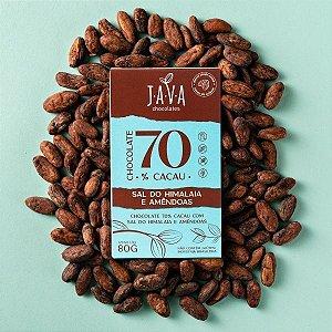 Chocolate com SAL DO HIMALAIA e Amêndoas 70% cacau - 1 tablete de 80g