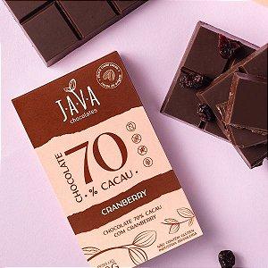 Chocolate 70% Cacau  com CRANBERRY - 1 tablete de 80g