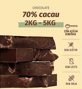 Barra de chocolate 70% cacau zero lactose - sem glúten, lactose, leite e soja  - 2 ou 5 kg