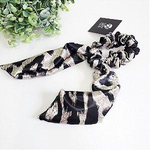 Scrunchie lenço de onça cinza
