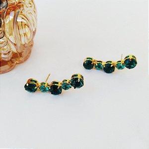 Ear cuff folheado esmeralda dourado