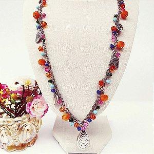 Maxi colar comprido correntes níquel com cristais coloridos