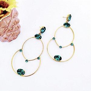 Brinco folheado dourado grande argola navete blue zirconia