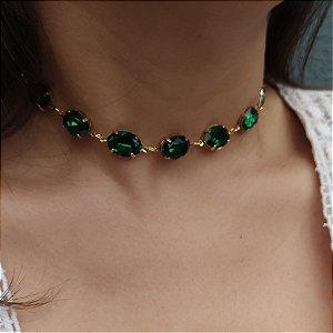 Choker folheada dourada menor pedra verde