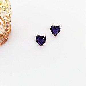 Brinco folheado coração fusion lilás prata