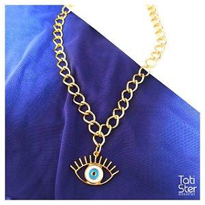Colar bijuteria olho grego m longo dourado