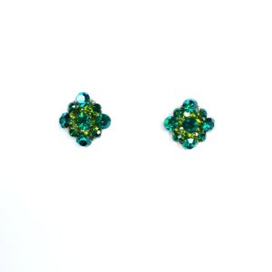 Brinco pequeno bijuteria flor tons verde mais escuro