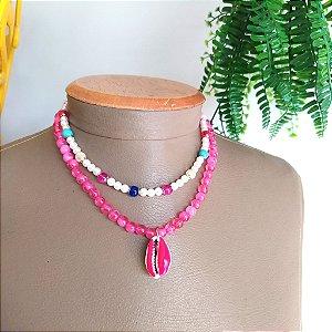 Mix colar rosa pink com búzio e choker pérola