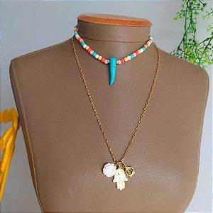 Mix colar elo dourado com colar colorido