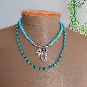 Mix colar e choker  cristal azul com búzio