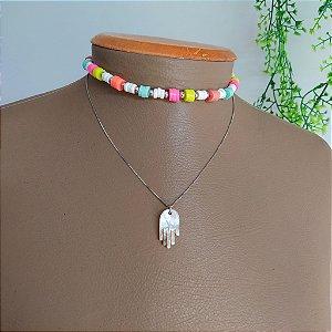 Mix colar corrente e colar rodelinhas coloridas