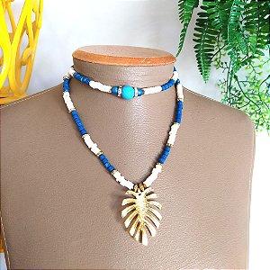 Mix colar longo azul marinho e colar choker azul com branco